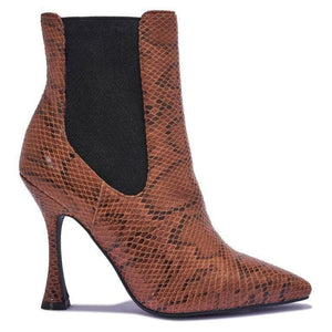 Brown Snake Stiletto Ankle Boots