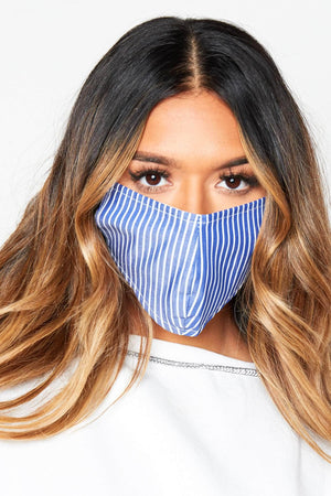 Blue & White Stripe Cotton Face Mask