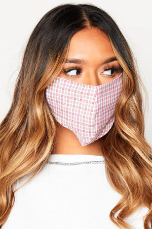Red Checked Cotton Face Mask