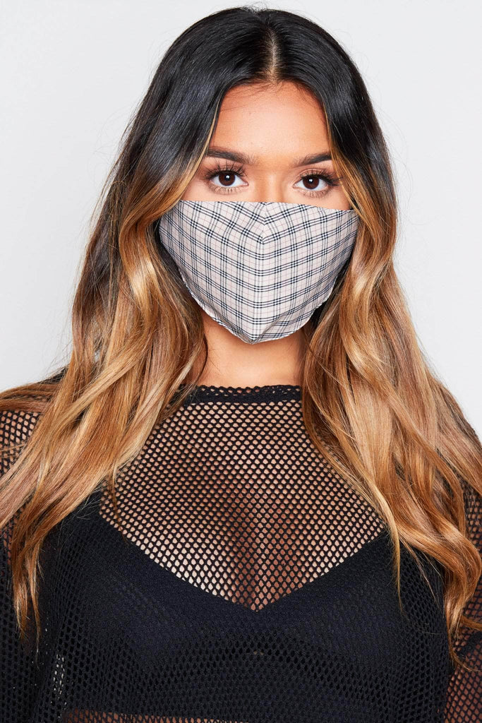 Beige Mini Check Printed Fabric Face Mask