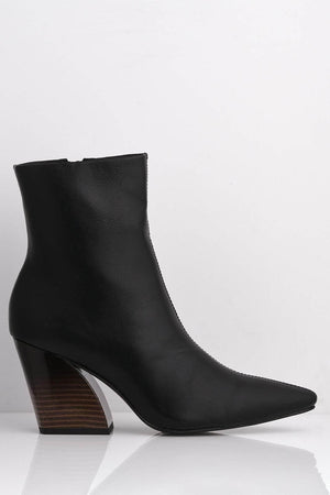 Black Pointed Pu Boots with Angled Heel