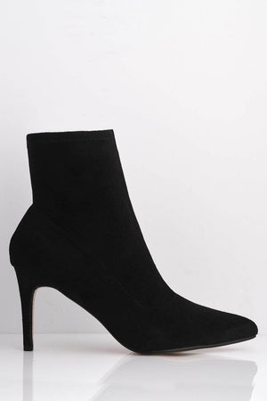 Black Suede Pointed Toe Stiletto Ankle Boots