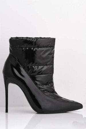 Black Patent Quilted Ankle Boots