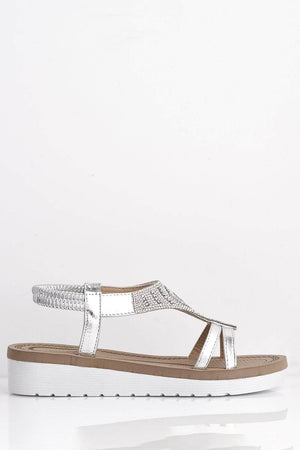 Silver Diamante Embellished Flat Sandals