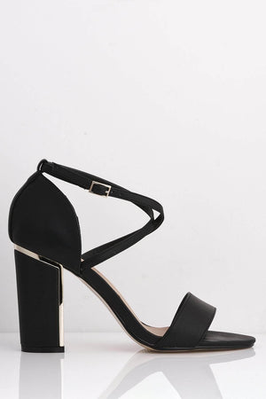 Black Pu Sandals with Gold Heel Detail