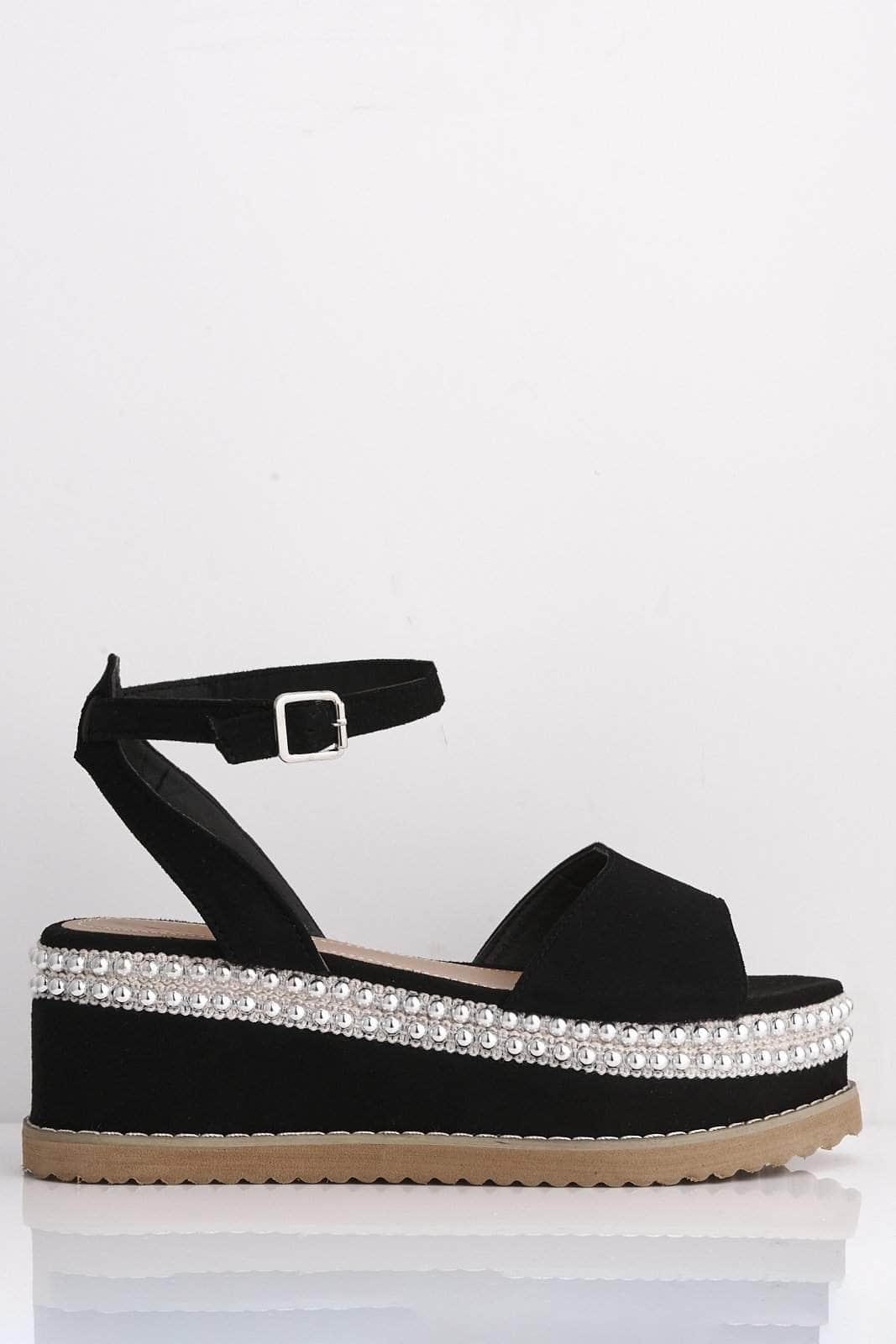 Black Microfibre Platform Sandals with Stud Detailing
