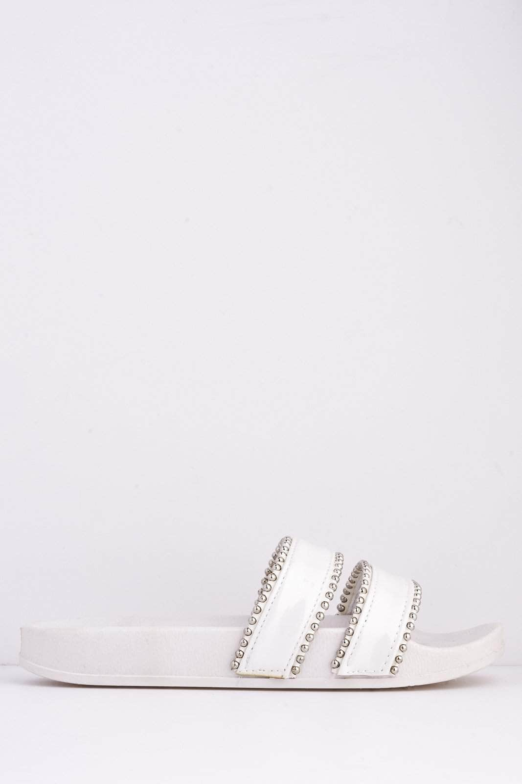 White Pu Double Studded Strap Sliders