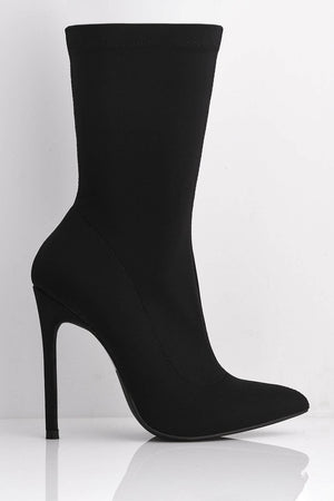 Black Lycra Pointed Toe Stiletto Calf Boots