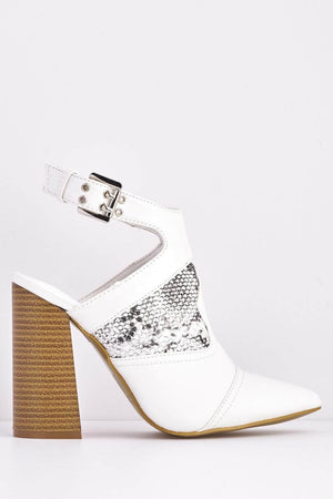 White Pu Snake Pointed Backless Boots