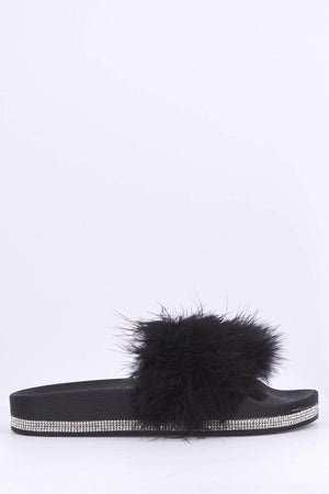 Black Diamante Fur Sliders