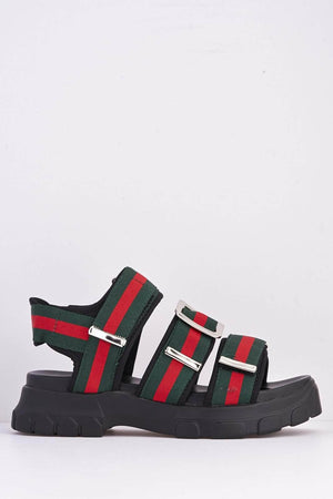 Green & Red Stripe Sports Velcro Sandals