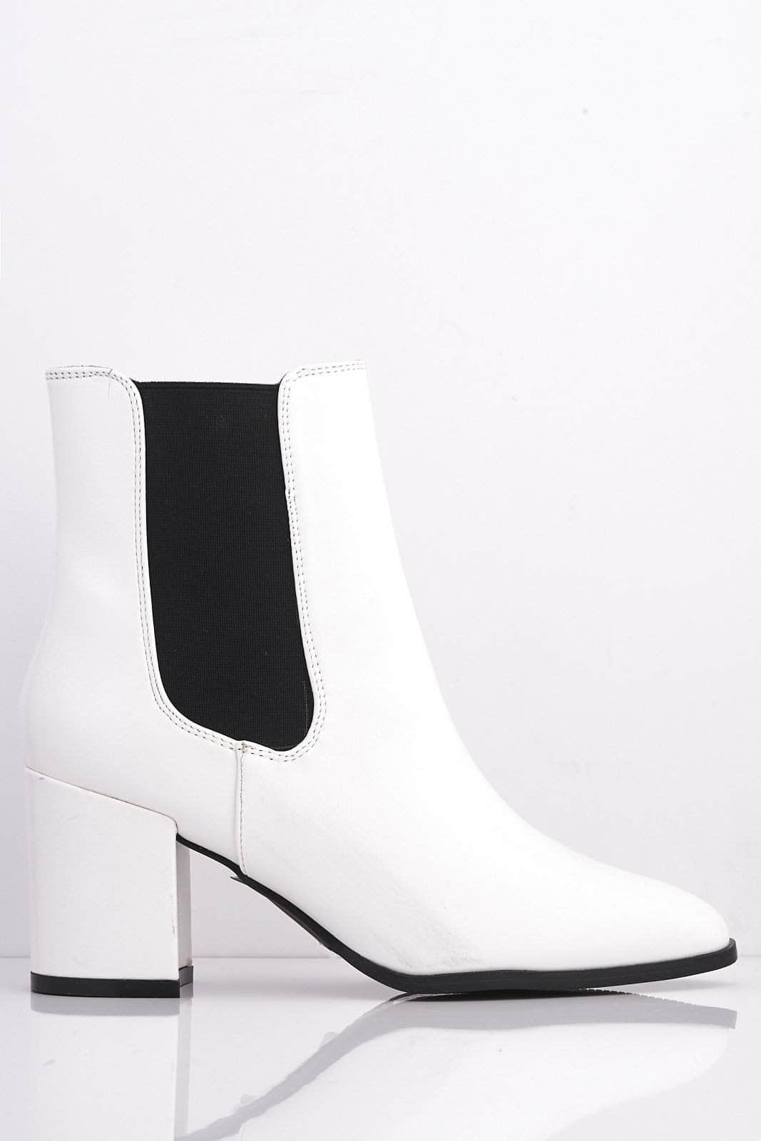 White Pu Pointed Ankle Boots