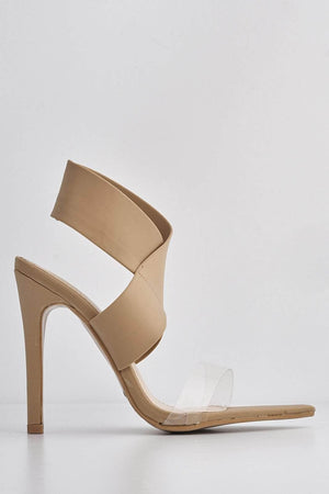 Nude Lycra Cross Over Strap Perspex Heels