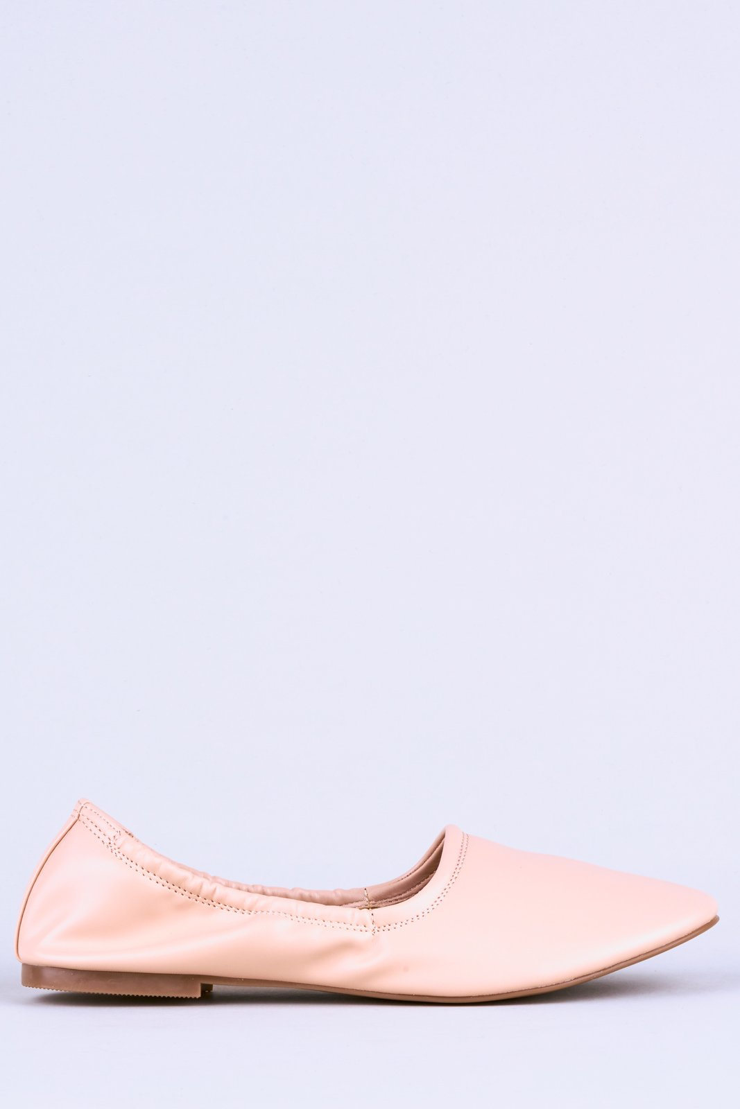 Nude PU Ballet Pumps with Elastic Hem-Flats-Hidden Fashion