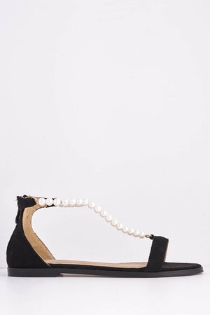 Black Suede Flats with Pearl Chain
