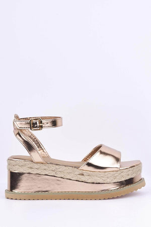 Rose Gold Metallic Flatform Espadrille Sandals