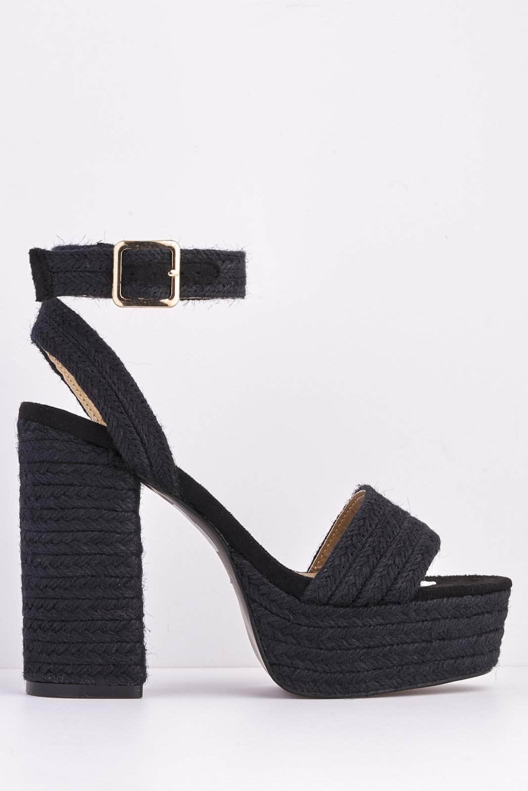 Black Raffia Chunky Heel Sandals