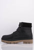 Black Pu Buckled Hiking Boots