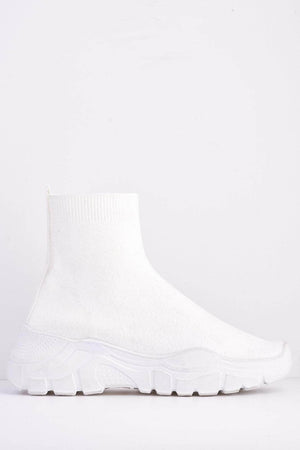 White Knitted Sock Trainers