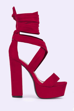 Red Suede Platform Tie Up Heels