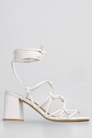 White Pu Strappy Low Heel Sandals
