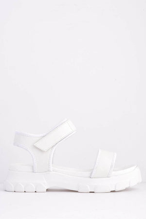 White Pu Velcro Sports Sandals