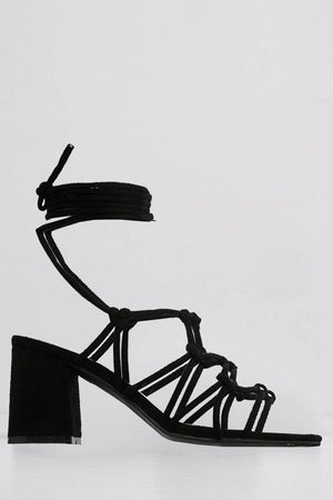 Black Suede Strappy Low Heel Sandals