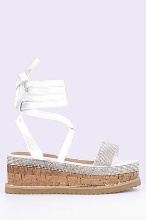 White Pu Diamante Flatform Cork Sandals