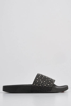 Black Sliders with Diamante Embellished Strap