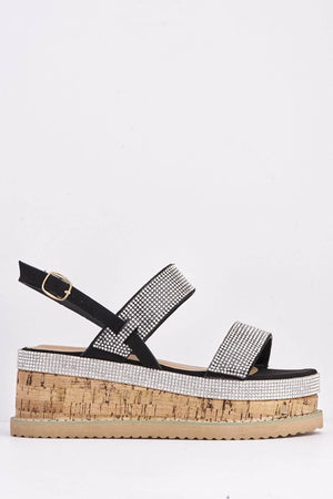 Black Diamante Embellished Cork Lace Up Espadrilles