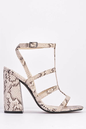 Nude Snake Caged Block Heels