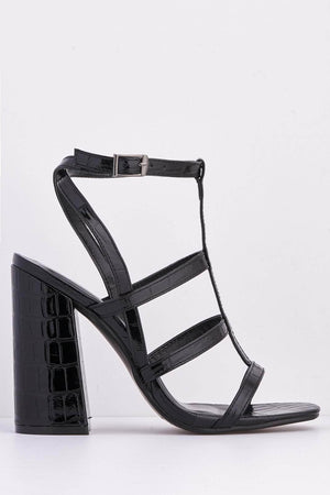 Black Croc Patent Caged Block Heels
