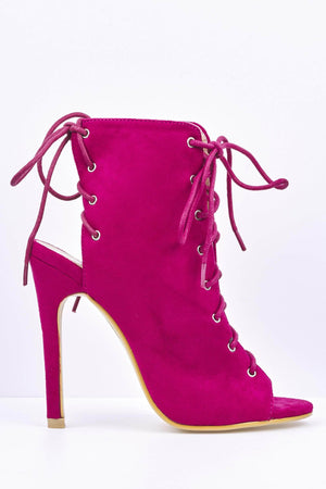 Fuchsia Suede Lace Up Peep Toe Heels
