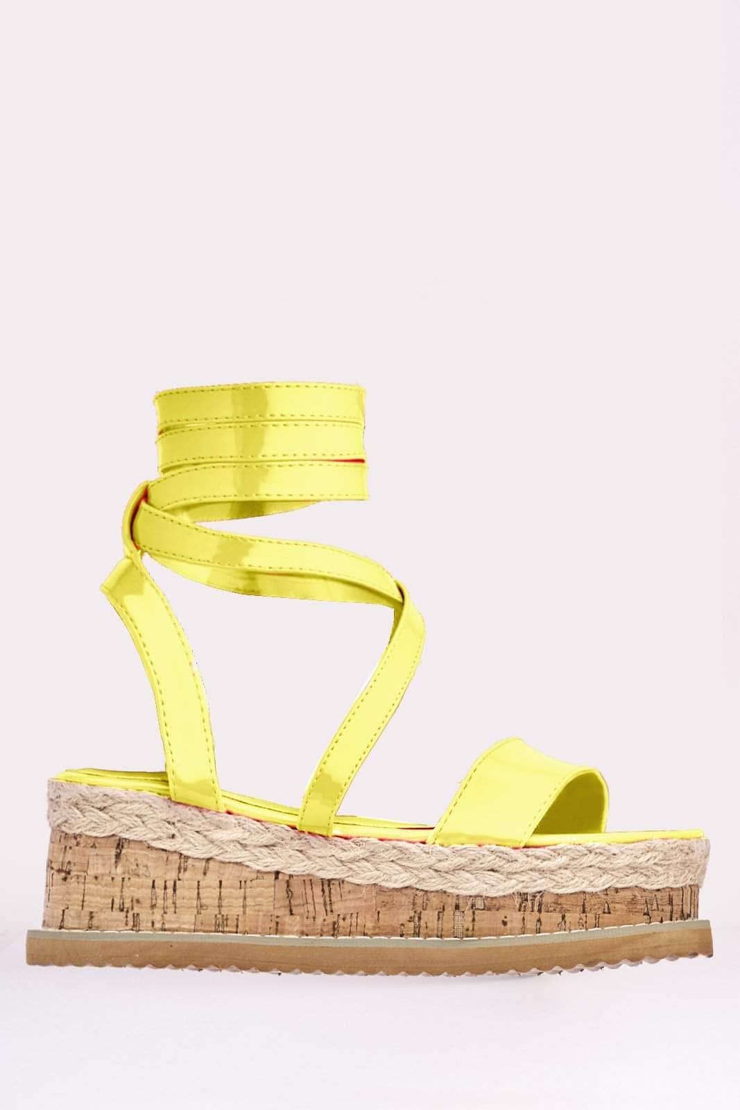 Neon Yellow Patent Cork Sandals