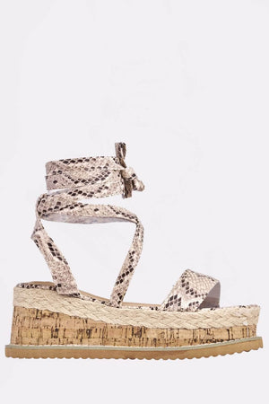 Nude Snake Patent Cork Sandals