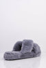 Faux Grey Cross Over Fur Sliders