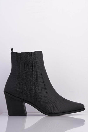 Black Croc Pu Pointed Ankle Boots