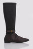 Brown Pu Contrast Stretch Knee High Boots