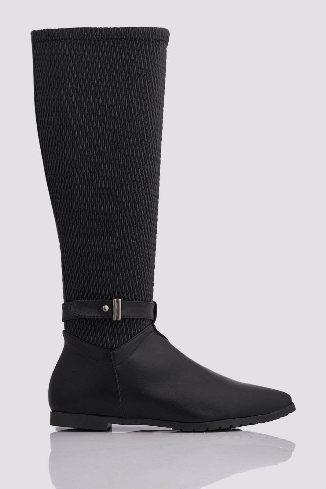 Black Pu Textured Stretch Knee High Boots