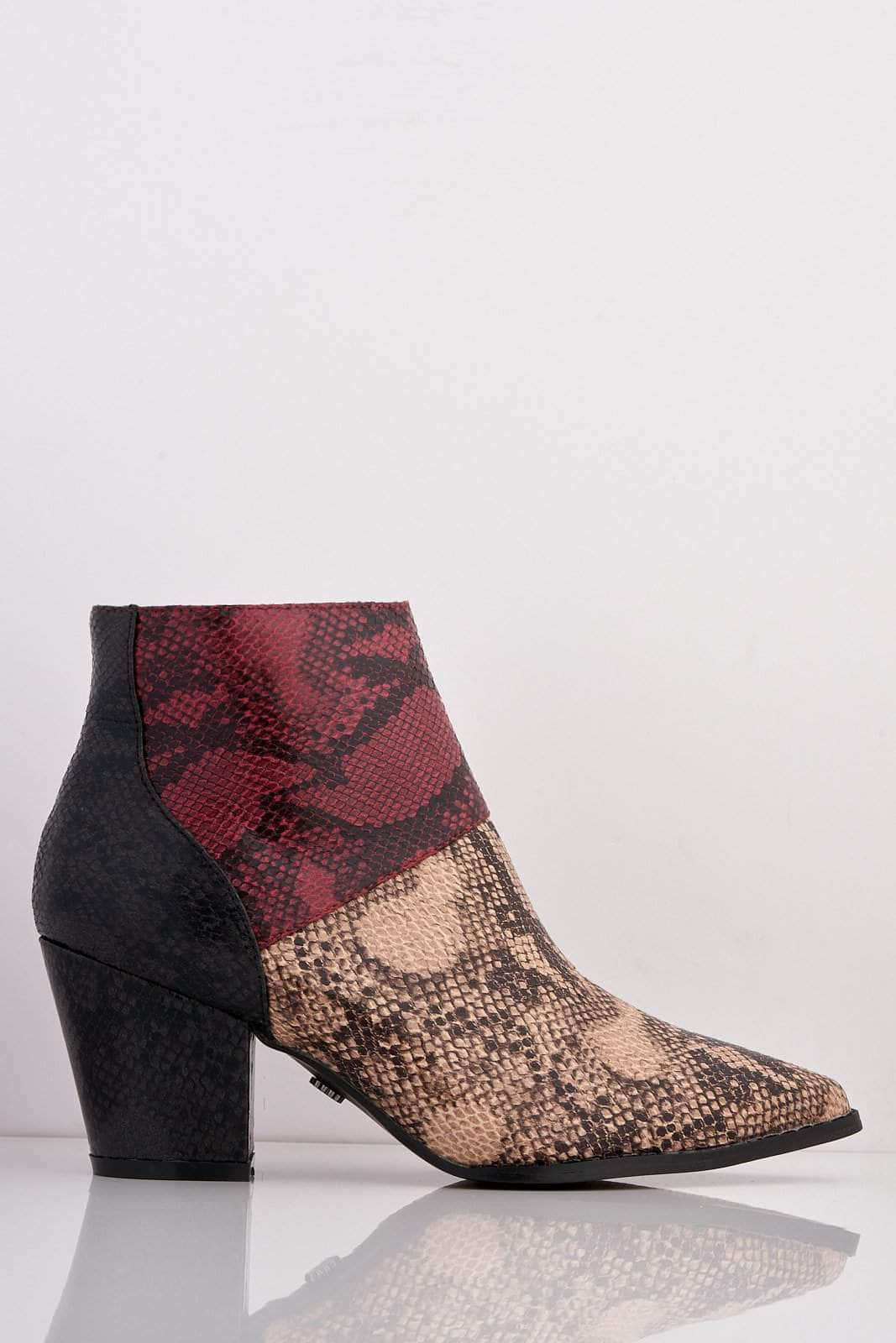 Multicoloured Snake Pu Pointed Ankle Boots