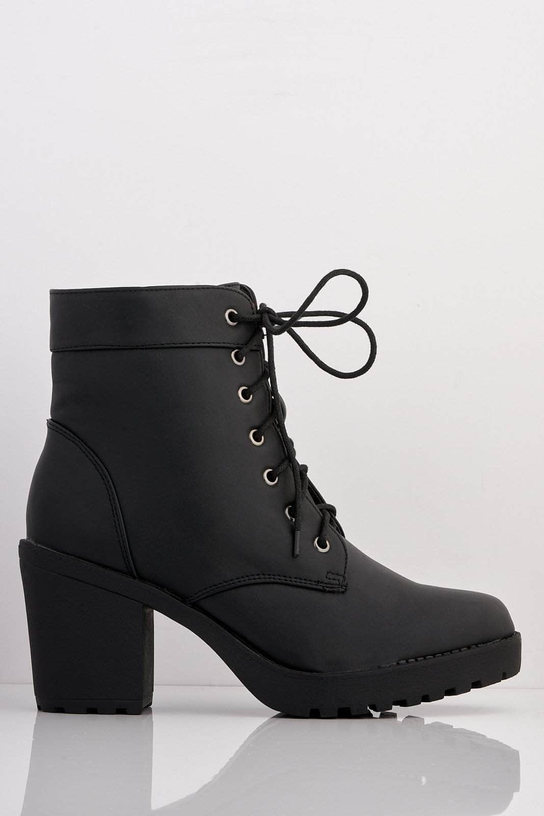Black Pu Lace Up Ankle Boots