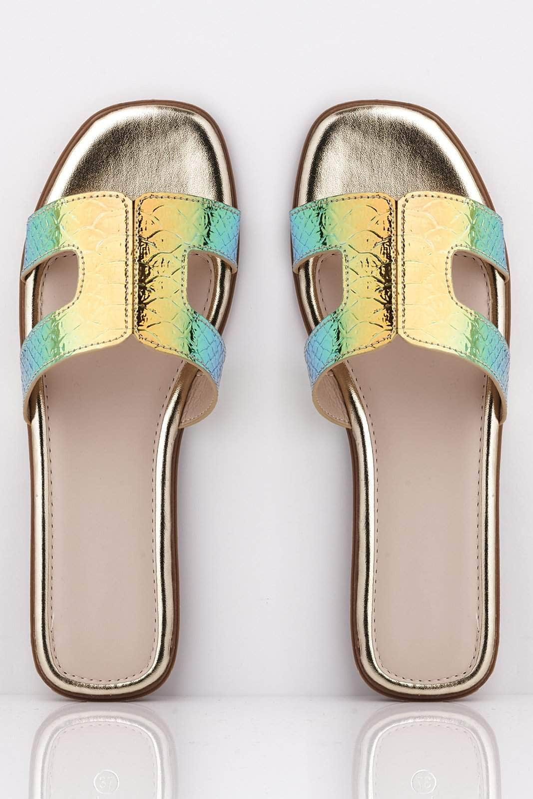 Green Holographic Snake Cut Out Sliders