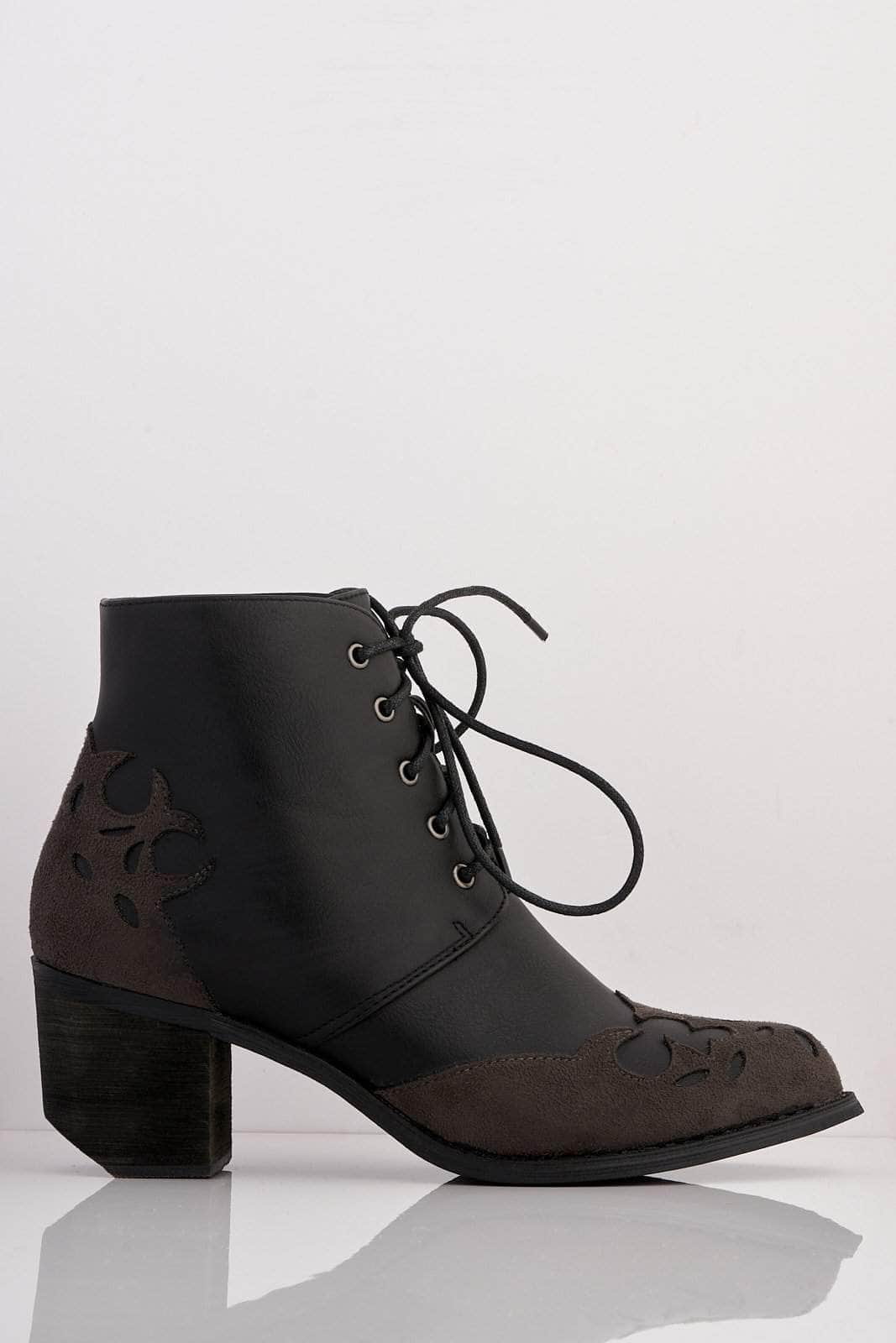 Black Pu Contrast Suede Cut Out Western Boots