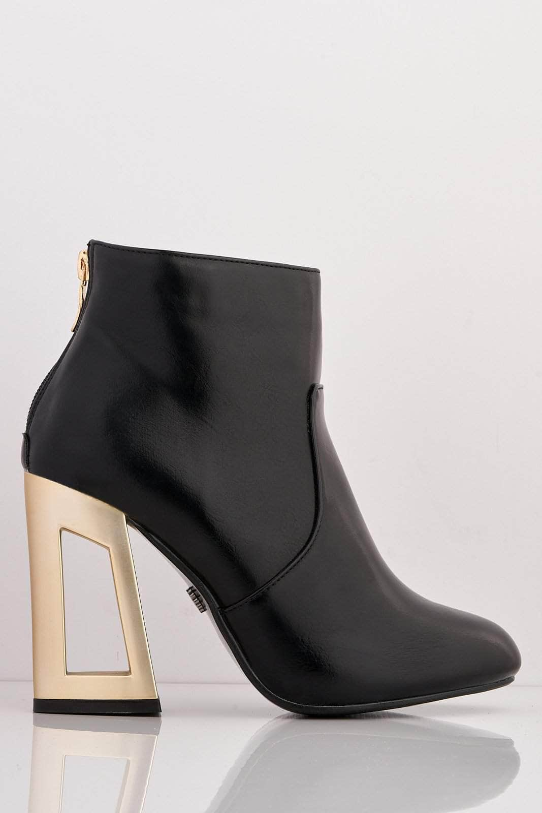 Black Pu Ankle Boots with Gold Cut Out Heel
