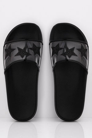 Black Sliders with Perspex Star Strap