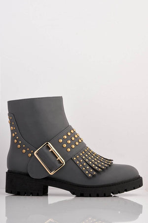 Grey Pu Ankle Boots with Fringe & Stud Details