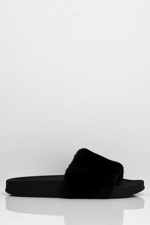 Black Faux Fur Slip On Sliders