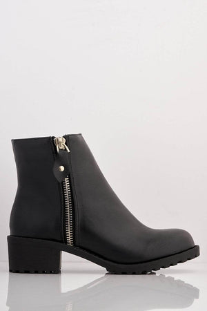 Black Basic Pu Ankle Boots with Zip