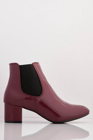Burgundy Patent Contrast Ankle Boots