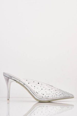 Silver Pointed Perspex Mules with Diamantes
